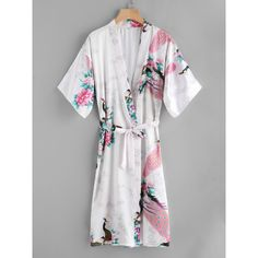 Peacock Print Satin Kimono Robe With Belt (20 BAM) ❤ liked on Polyvore featuring intimates, robes, multicolor, bath robes, satin kimono robe, kimono bath robe, floral bathrobe and robe kimono