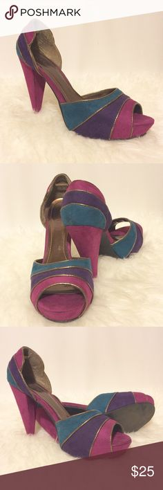 """⭐️ Fuchsia Teal & Purple Striped Platforms Oh la la! Fabulous shoes, faux suede piped in copper. Teals, Fuchsia and Purple suede with bronze accents. All man made materials. 1"""" platforms 5"""" heels. Shoes Heels"""