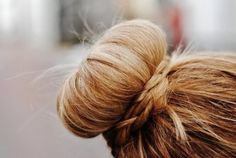 I <3 sock buns. must try with a wrapped braid