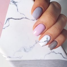 Мраморный маникюр. Дизайн ногтей. Мрамор.  Розовый и серый