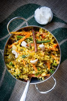 Cauliflower takes the place of the usual rice in Monica's vegetarian biryani recipe, for a lighter, vegetable-centric spin on the traditional Indian dish.