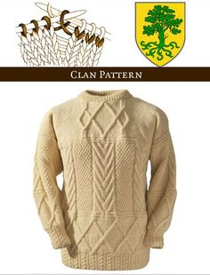 This knitting kit is comprised of the finest traditional Aran Wool, together with your Family Crest, sweater history and your Boyle knitting pattern. We provide enough Aran wool to create your perfectly sized sweater plus a little extra. Aran Knitting Patterns, Knitting Designs, Hand Knitting, Donegal, Two By Two, Men Sweater, Pullover, Wool, Irish Sweaters
