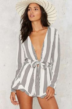 ::i can imagine wearing this in St. Tropez. Factory The Black Stripes Plunging Romper::