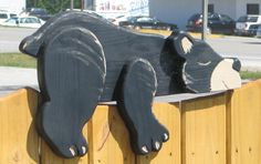 Tummy napping black bear fence or planter decor - perfect for cabin