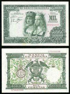1957 Bank of Spain 1000 Pesetas Banknote Catholic Royals Pick Crisp XF++ Old Money, Curious Cat, Good Notes, World Coins, European History, Vivid Colors, Catholic, Graffiti, Nostalgia
