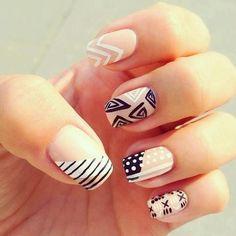 Cute Nails. Nails. Fashion. Nail Art. Nails Art. Nail Polish. Nail Design. Style. Stripes, polka dots, white, black, nude.