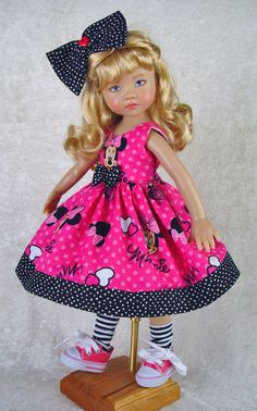 Minnie Mouse Dress fits Effner 13, Little Darling. Little Charmers Doll Designs