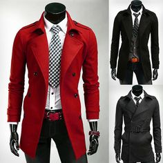 2015 Men Trench Blazer Winter Long Jackets D-Breasted Pea Coat Overcoats Outwear #unbranded #BasicCoat