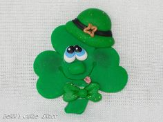 Lucky - St. Patrick's Day - Polymer Clay Bead / Charm / Bow Center. $3.00, via Etsy.