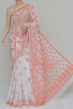 White Colour Half Chhadi Jaal Hand Embroidered Lucknowi Chikankari Saree (With Blouse - Georgette) Tussar Silk Saree, Georgette Sarees, Saree Shopping, Half Saree, Sarees Online, Lehenga, Chiffon, Sari, India