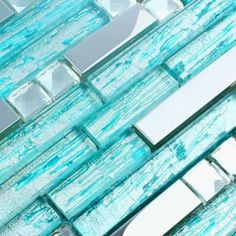 stainless steel backsplash blue glass mosaic tiles kitchen back splash cheap diamond mosaic crystal glass subway bathroom shower tile designs Blue Glass Tile, Glass Mosaic Tiles, Aqua Glass, Turquoise Glass, Stone Mosaic, Turquoise Kitchen, House Of Turquoise, Blue Mosaic, Mosaic Wall