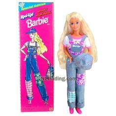 Year 1995 Barbie Special Edition Series 12 Inch Doll - WACKY WAREHOUSE KOOL AID BARBIE with Hat and Bag Barbie Store, Special Flowers, Kool Aid, Barbie Collection, Age 3, 1990s, Warehouse, Princess Zelda, Dolls