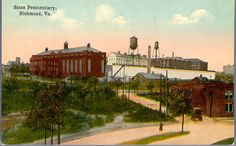 https://flic.kr/p/rBxN2d | State Penitentiary, Richmond, Va. |  Description: View from Gambles Hill Park.  The original buildings erected on this site were burned to the ground in 1829, the convicts being rescued with great difficulty.  At the evacuation its doors were opened and all its inmates liberated.  The present buildings and grounds embrace an area of 16 acres and it confines about 1700 prisoners.  Extensive work shops are contained within its walls; the shoe shop turning out about…