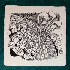 Here is the tile I created for Challenge 174 with the combination of strings. The tangles used are: Shattuck, Diva Dance-Waltz, Mooka, and Pokeroot. It's shaded with Derwent water soluble graphite.