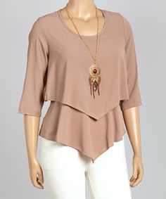 This Mocha Layered Three-Quarter Sleeve Top - Plus is perfect! #zulilyfinds