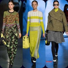 Kenzo RTW FW '14 Caroline Brasch Nielsen // Ming Xi // Hanne Gaby Odiele  Stylist Picks: Equal parts Twin Peaks: a little bit school-girl, a little bit sharp and slinky, and a whole lot of confusion. Yet somehow, I am intrigued and will come back for more.  Source: oncewheniwas.com