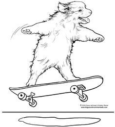 Skateboarding dog coloring page by Diane deGroat & Shelley Rotner