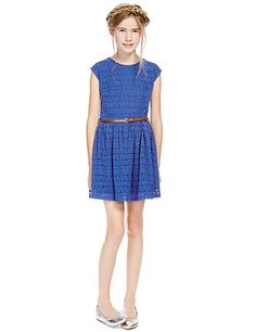 Lace Belted Skater Dress (5-14 Years) | M&S