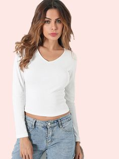 Strappy Back V-Neck Crop T-Shirt Cami Tops, V Neck, Clothes For Women, T Shirt, Collection, Shopping, Fashion, Outerwear Women, Supreme T Shirt