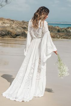 The bohemian Gwendolyn wrap wedding dress from Spell