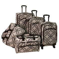 @Overstock - This valuable set from American Flyer features a metallic clover design, three uprights, a matching wheeled duffel and a personal duffel. The convenient wheeled uprights also have an expandable feature.http://www.overstock.com/Luggage-Bags/American-Flyer-Clover-Metallic-5-piece-Black-Grey-Expandable-Spinner-Luggage-Set/7423963/product.html?CID=214117 $240.00
