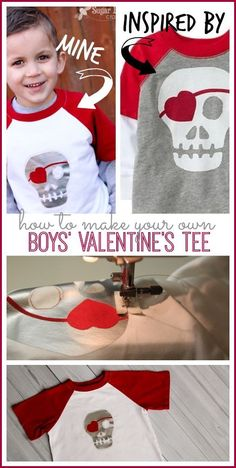 Boy's Skull Heart Valentine Shirt that you can make yourself with vinyl!! - - Sugar Bee Crafts