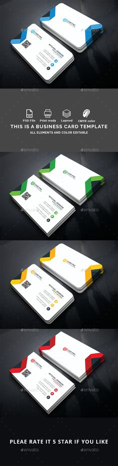 #Business #Card - Business Cards Print Templates Download here: https://graphicriver.net/item/corporate-business-card-v1/18749604?ref=alena994