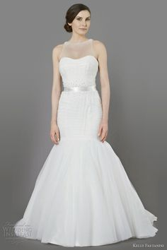 Charlize tulle pleated mermaid gown with detachable illusion neckline, spray pearl beading and ribbon sash