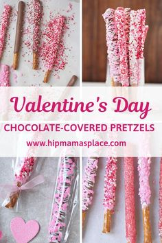 Make Valentine's Day special by making these easy, fun and delicious chocolate covered Valentine pretzels with your family!  #desserts #ValentinesDay #Valentines #recipes #sweets