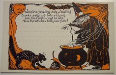 Vintage Halloween Postcard and invitation in one