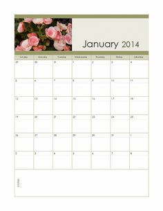 2014 monthly photo calendar (floral, Sun-Sat) - Templates