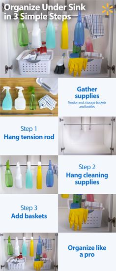Make Spring Cleaning a breeze and get organized in 3 easy steps with this easy and inexpensive Helpful Hack - The Under Sink Organizer. All you need is a tension rod! First, place the rod under your kitchen or bathroom sink, then hang all your different cleaning bottles. Now you have room to place some baskets for your other cleaning supplies. Congrats, you're now an organizational pro. Get everything you need for your spring cleaning at Walmart.