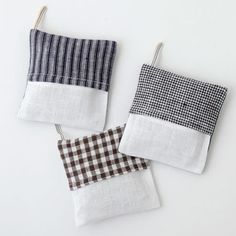 Available at Hello Crisp; handmade lavender sachets in assorted linen colors.