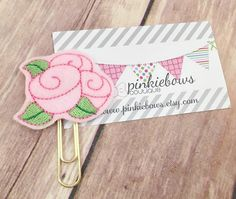 Pink/Gold/Roses/Felt Applique Paper Clip/Planner Clip/Bookmark/Journal Marker by pinkiebows on Etsy