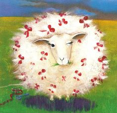 Could not trace the artist Sheep Art, Moose Art, Art And Illustration, Farm Animals, Cute Animals, Motifs Animal, Sheep And Lamb, Whimsical Art, Art Plastique
