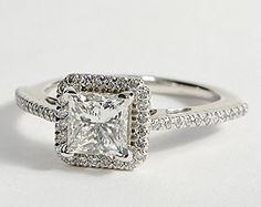 Princess Cut Halo Diamond Engagement Ring in 18K White Gold #BlueNile #Engagement