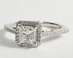 Princess Cut Halo Diamond Engagement Ring in 18K White Gold #BlueNile #Engagement