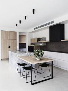 New Kitchen Island Table Bench Floors Ideas Modern Farmhouse Kitchens, Farmhouse Style Kitchen, Home Decor Kitchen, Interior Design Kitchen, Modern Interior Design, New Kitchen, Kitchen Ideas, Kitchen Black, Kitchen Wood