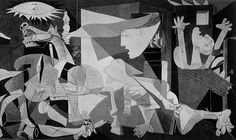 PABLO PICASSO, Guernica 1937: Obra cubista, representa la vanguardia del siglo XX que libera la desproporción expresiva de las figuras rompiendo con el arte tradicional. Bocetea  la masacre ocurrida en la villa vasca bombardeada por la aviación alemana para probar el armamento ante el avecinamiento de la segunda guerra mundial a mandato de Franco. Es un cuadro sonoro ,pincelado a grisalla, encuadre parecido a un tríptico, con lineas neoclasicistas, rasgos cubistas y gestos con Expresionismo