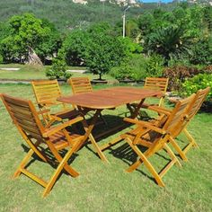 Shop for International Caravan Isernia Acacia Hardwood Outdoor Folding Dining Set (Set of 7). Get free delivery at Overstock.com - Your Online Garden