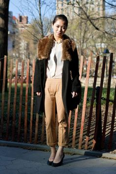 cute faux fur trim coat