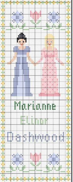 Jane Austen cross stitch pattern