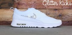 online store 7ccae 14d6f ... Nike Air Max Thea Running Shoes By Glitter Kicks - Triple White Black  Paint Speckle ...