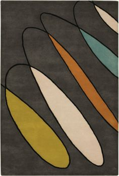 Great rug with colors to coordinate with your banquette and a touch of mid-century feel.
