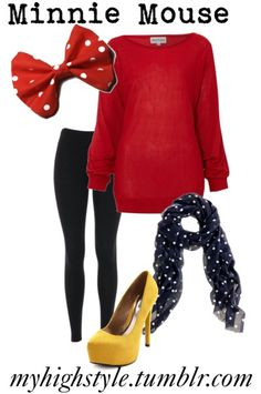 Black leggings, red sweater, black scarf, yellow shoes, some polka dots… Straight up Minnie. Disney Bound Outfits Casual, Disney Princess Outfits, Disney Themed Outfits, Cute Outfits, Disney Costumes, Halloween Costumes, Mermaid Costumes, Couple Halloween, Adult Costumes