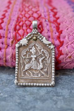 Tribal silver Pendant Indian amulet hindu God by Faerymother