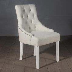 Florence Cream Fabric Dining Chairs with White Legs