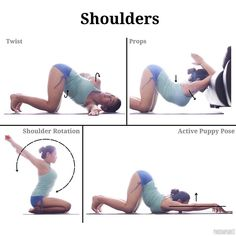 A number of you asked for some warm up or exercises for increased shoulder mobility so here are some of my favourites that I never fail to do during home practices. . Bottom left: - ROTATION Grab a strap / towel with both hands stretched out in front of you. The distance between palms is dependent on individual's flexibility; further = easier, closer = harder. The key point is to NOT bend at the elbows as you move both arms forward and backwards shown by the 300deg arrows. A huge favourite…