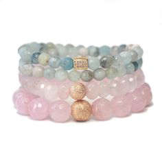 The Unconditional Love stack is a trio of delicate hues: an aquamarine double-wrap, blue sponge quartz and rose quartz, the crystal of unconditional love. This stack is part of our 2016 Pantone Sereni