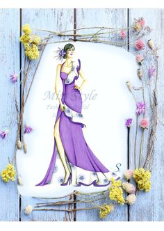 #missstylecreazioni Illustrazione Primavera Viola #fashionIllustrations #eveningDress #fashionDrawing #spring
